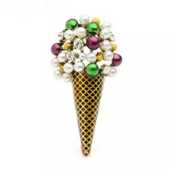 Zard Ice-cream Cone Pin Brooch In Colorful Rhinestone And Beads Accents