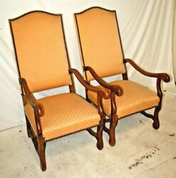 Pair Of Antique French Walnut Sheep Bone Chairs Os Du Mouton Provincial