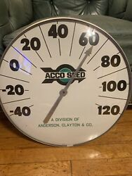 """Huge 18"""" Glass Acco Seed Feed Dairy Farm Advertising Thermometer Sign"""