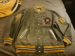 Mitchell Ness Mandn Authentic Chicago Boston Bruins Leather Wool Jacket 64 5xl Wow