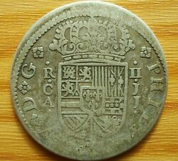 Spain 2 Reales 1723 Philipe V 1700-1746 Ad Colonial Silver Coin Very Rare