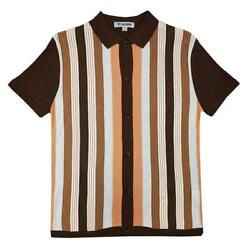 Stacy Adams Brown / Copper / Off-white Button Up Knitted Short Sleeve Shirt