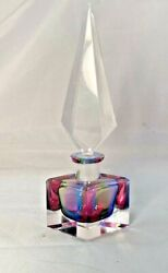 Vtg Deco 1920s Rainbow Colored Crystal Cased/cut Glass Perfume Bottle Modernism