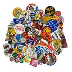 Vintage Pinback Button Lot Pin Collection Mixed Estate Treasures Knick Knacks