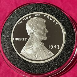 1943 Steel Penny Proof Coin Copy 2 Troy Oz .999 Fine Silver Rare Round Medal 999
