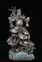 Chinese Folk Silver Guan Gong Guan Yu Warrior God Sword Stand In Dragon Statue