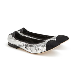 New In Box Sold Out 2020 Authentic Metallic Silver Cc Logo Ballet Flats