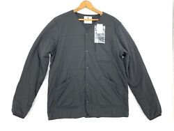 Snow Peak Size Large Flex Quilted Jersey Jacket Collarless Snap Button Black