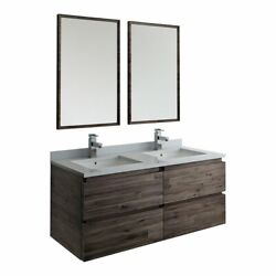 Fresca Formosa 48 Wall Hung Double Sinks Bathroom Vanity With Mirrors In Brown