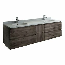 Fresca Formosa 72 Wall Hung Double Sinks Wood Bathroom Cabinet In Brown