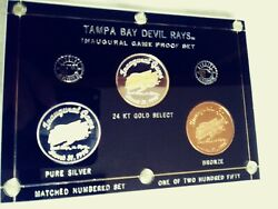 Tampa Bay Devil Rays Inaugural Game Season Numbered Proof Medallion Set 24k Gold