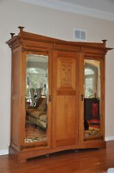 Antique Arts And Crafts / Mission / Armoire Wardrobe Entertainment Cabinet