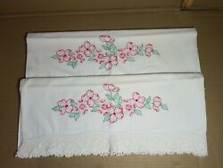 Pair Heirloom Vintage Pillowcases Embroidered Cotton Handmade Floral Crocheted