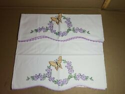 Pair Heirloom Vintage Pillowcases Embroidered Cotton Handmade Floral Butterfly