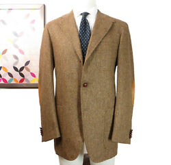 Breuer By Caruso Wool Brown Beige Tweed Leather Patches Jacket Sports Coat 42 R