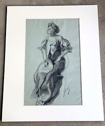 """Original Jules Cheret French 1836-1932 Crayon Drawing On Paper 15"""" X 9"""""""
