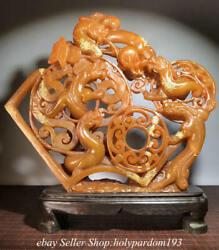 """15.6"""" Chinese Natural Tianhuang Shoushan Stone Carving Dragon Bead Beast Statue"""