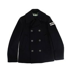 Nwt Off White C/o Virgil Abloh Navy Double Breasted Coat Size L 1400
