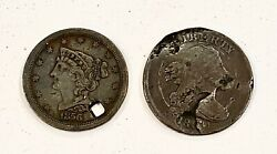 2- Rare Draped Bust Half Cent Copper Coins 18001856- See Other Coins