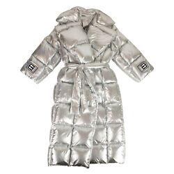 Nwt Off White C/o Virgil Abloh Silver Oversize Puffer Coat Size 0/36 4585