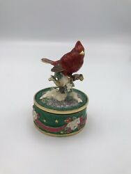 Enameled Metal Music Box Encrusted With Crystals - Cardinal - Silent Night