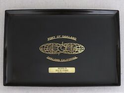 Vintage Couroc Inlaid Brass Port Of Oakland California Cocktail Serving Tray 15