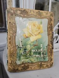 Antique Victorian Celluloid Photo Album With Yellow Catherine Klein Roses Cover