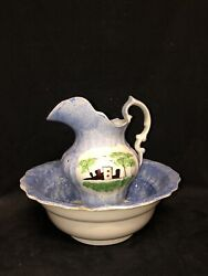 Staffordshire Blue Spatterware Fort Bowl And Pitcher