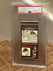 C1960 Mickey Mantle And039s Mantle Holiday Inn Matchbook Cover Diamond - Psa 5 Vg-ex