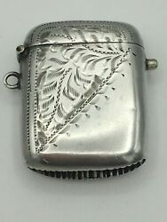 Rare Push Button Edwardian Silver Vesta Case Charles Lyster And Son Bham 1906