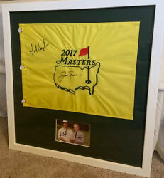 Jack Nicklaus Fred Couples Jsa Autographs On Both Flag And Photo Masters Frame