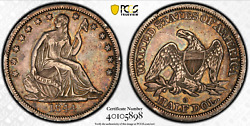 1844-o Doubled Date Seated Liberty Half 50c Pcgs Xf Details Extremely Fine