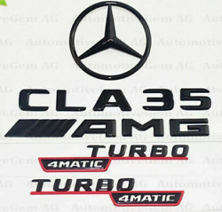 Cla35 Amg Turbo 4matic Black Red Star Trunk Rear Boot Emblems Badges C118