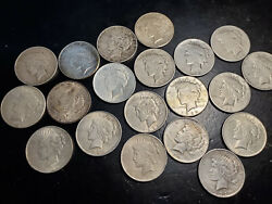 Us Peace Silver Dollar -20 Coin Lot -average Circulated-all Coins 1922 Or 1923