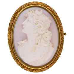 Antique Hand Carved Pink Coral Cameo Gold Brooch Pin Estate Fine Jewelry