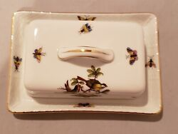 Herend Rothschild Bird Butter Dish And Cover