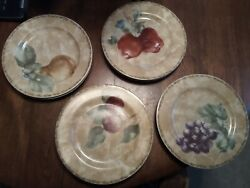 Set Of 4 Salad Plates 222 Fifth Cortland By Cheri Blum Fruit 8 1/8
