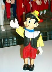 Pinocchio Marionette Czech Traditional 4 Strings Puppet Wooden Art Doll 30 Cm