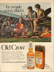 1968 Vintage Ad For Old Crow Straight Bourbon Whiskey Retro Bottle   02/03/21