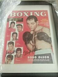 Boxing Magazine July 1953 Joey Giardello And Floyd Patterson Signed No Label/framd