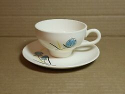 Stetson China Pottery Tea Cup And Saucer Blue Coastal Echinops Globe Thistle Mcm