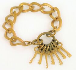 Antique Victorian Era Brass Charm Bracelet Key Dangle Articulated Early Clasp