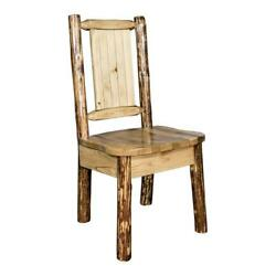 Montana Woodworks Glacier Country Wood Side Chair With Engraved Bronc In Brown