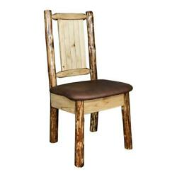 Montana Woodworks Glacier Country Wood Side Chair With Bronc Design In Brown