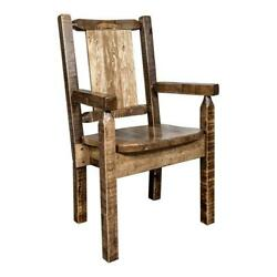 Montana Woodworks Homestead Pine Wood Captain's Chair With Bronc Design In Brown