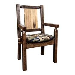 Montana Woodworks Homestead Wood Captain's Chair With Bronc Design In Brown