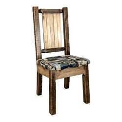 Montana Woodworks Homestead Wood Side Chair With Engraved Bronc Design In Brown