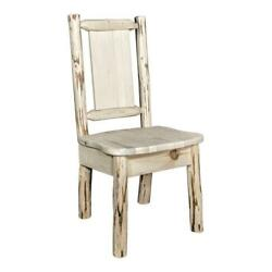 Montana Woodworks Wood Side Chair With Engraved Bronc Design In Natural
