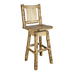 Montana Woodworks Glacier Country 30 Wood Barstool With Bronc Design In Brown