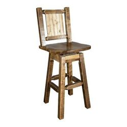 Montana Woodworks Homestead 24 Solid Wood Barstool With Engraved Bronc In Brown